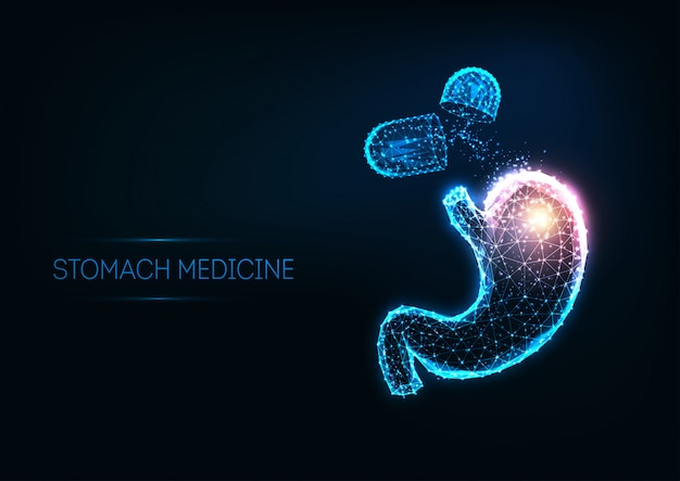 Futuristic stomach medicine concept with glowing polygonal human stomach and capsule pills