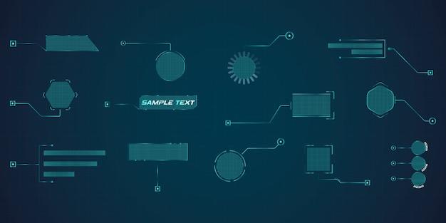 未来的なスタイルのリーダーコールアウトhud。フレームレイアウトに適用可能な最新のデジタルテンプレート。情報の呼び出しと矢印。グラフィックセットの要素のインターフェイス。
