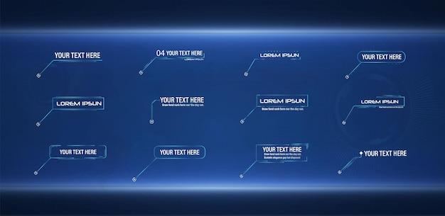 미래 지향적인 스타일의 리더 콜아웃 hud 프레임 레이아웃에 적용 가능한 최신 디지털 템플릿
