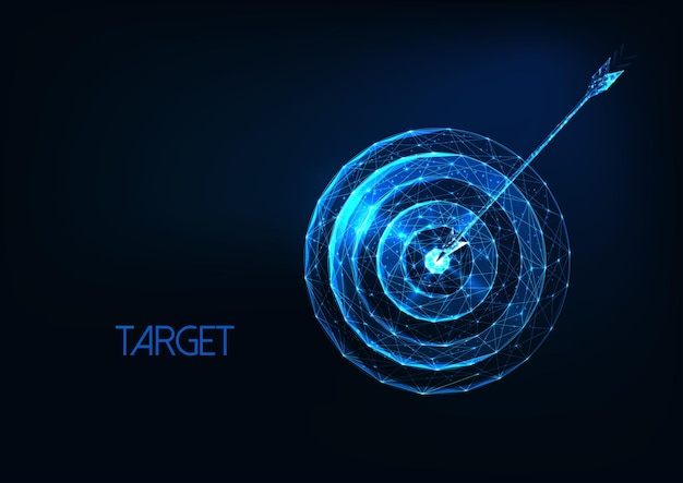 Futuristic success goal concept with glowing low polygonal target and arrow