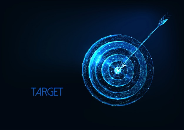 Futuristic success, goal concept with glowing low polygonal target and arrow