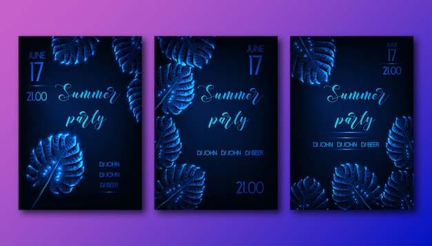 Futuristic summer party flyers set with glow low polygonal monstera leaves