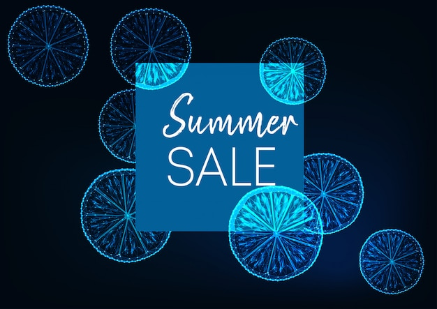 Futuristic summer sale banner with lemon, square frame and text on dark blue.