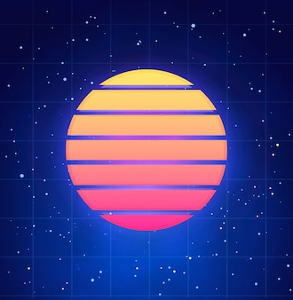 Futuristic sunset illustration in retro style. vaporwave, synthwave abstract template with star sky
