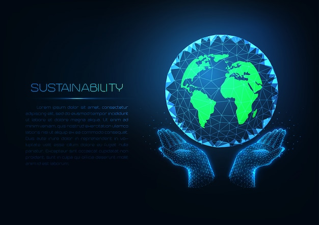 Futuristic sustainability technology with glowing low poly human hands holding green planet earth