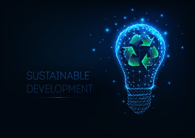 Futuristic sustainable development concept with glowing low polygonal light bulb and recycle sign