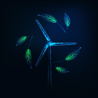 Futuristic sustainable energy symbol with glowing low poly wind turbine generator and green leaves
