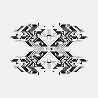 흰색 바탕에 미래의 대칭 디자인 요소입니다. 인쇄물 및 포스터에 유용합니다.