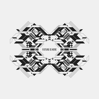 Футуристический симметричный элемент дизайна на белом фоне.