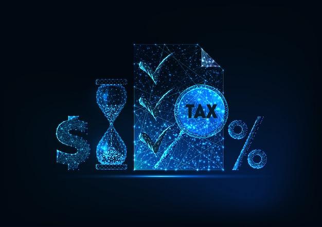 Futuristic tax report preparation time concept. taxes docmentation.