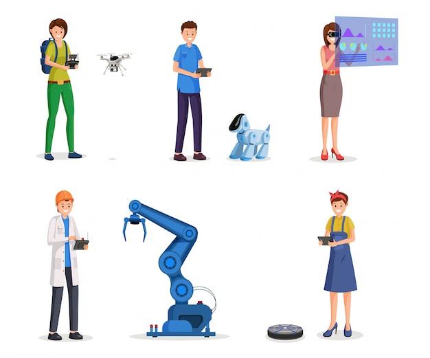 Futuristic technologies flat set