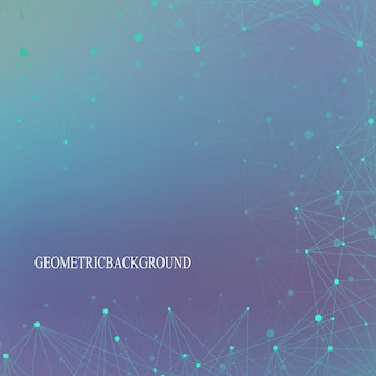 未来技術の背景分子とコミュニケーション。点で結ばれた線。ベクトルイラスト。