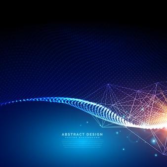 パーティクルで作られたデジタルの未来的な背景
