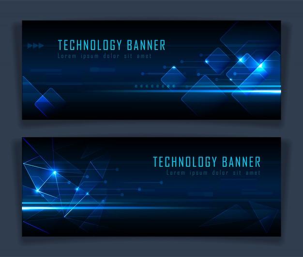 Futuristic technology banner set