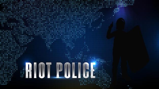 Futuristic technology blue background of silhouette private investigator detective