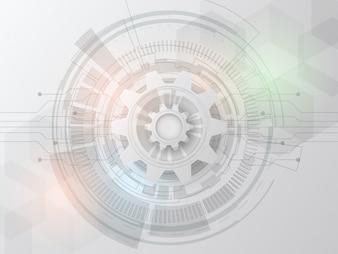 未来の技術の設計回路基板上に3d白い紙の歯車。