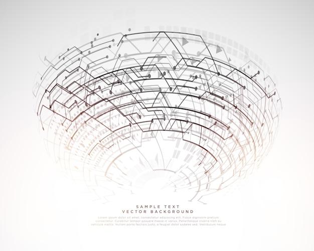 원형 형태로 네트워크 회로 라인 미래 기술 디지털 배경