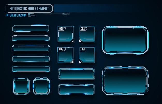 Futuristic technology frames interface hud element design for ui games