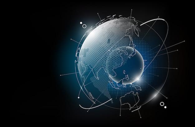 ホログラムのグローバリゼーションの概念、デジタルグラフィック要素、イラストの透明な世界地図の六角形パターンの未来技術グローブ