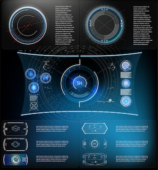 未来技術hud画面。 tactical view sci-fi vr dislpay。 hud ui。未来的なvrヘッドアップディスプレイデザイン。バーチャルリアリティ技術の画面。