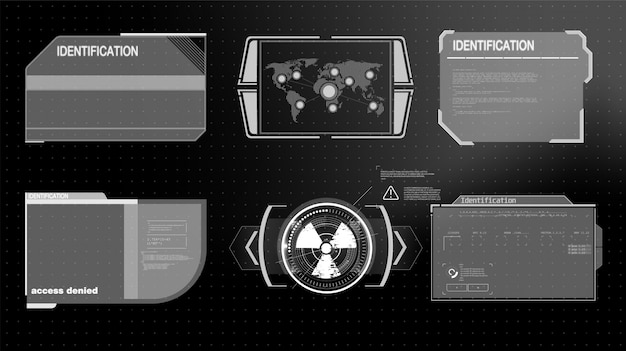 Futuristic technology hud screen. tactical view sci-fi vr dislpay. hud ui. futuristic vr head-up display . vitrual reality technology screen.