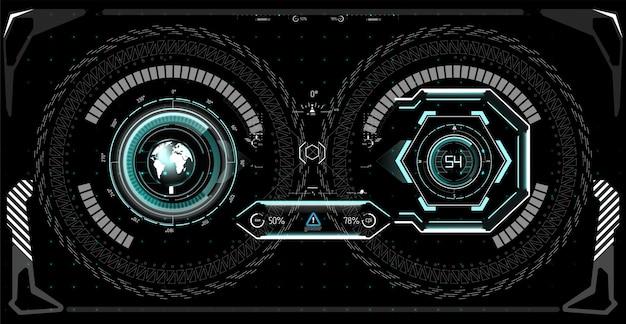 未来のテクノロジーhudスクリーン。タクティカルビューsci-fivrdislpay。 hudui。未来