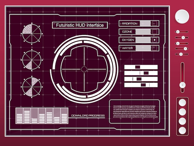 Futuristic technology interface hud ui elements.