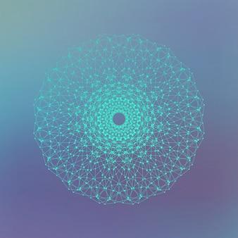 あなたのデザインの未来的なテクノロジーオブジェクト。点で結ばれた線。図