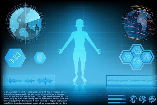 未来技術科学概念人間のデータ健康デジタルインタフェース。