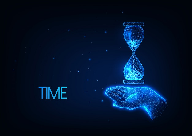 Futuristic time illustration with glowing low polygonal hand holding hourglass