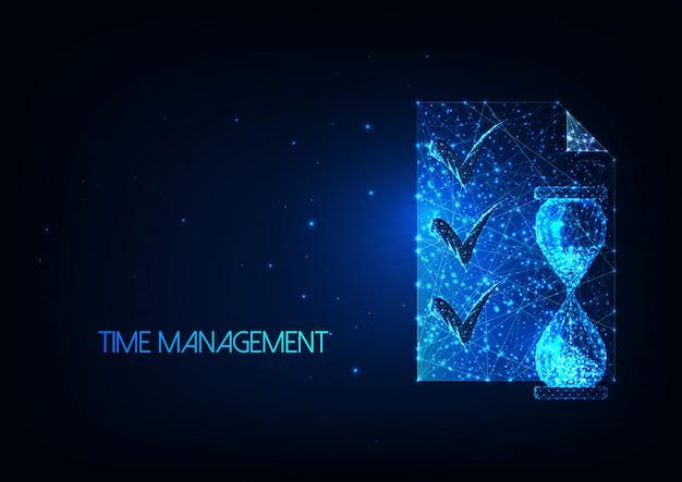 Футуристическая иллюстрация тайм-менеджмента со светящимися низкополигональными песочными часами и документом со списком планирования