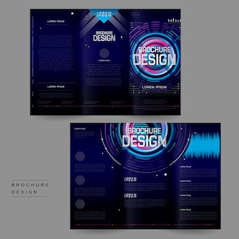 Futuristic tri-fold brochure template design in digital style