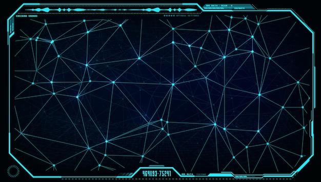 デジタルディスプレイまたはスクリーンモニターインターフェースの未来的なuihudビッグデータネットワーク。