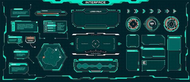 미래의 ui hud 요소 공상 과학 디지털 프레임 화살표 설명선 제목 세트