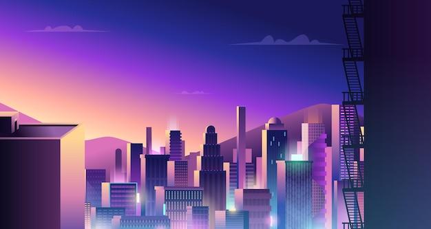 Футуристический городской пейзаж. город киберпанк с неоновым светом и цветным отражением вектора зданий цифрового города. иллюстрация горизонта здания, футуристическая улица, городской пейзаж