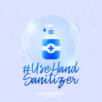 Futuristic use hand sanitizer during coronavirus outbreak concept. concept prevention covid-19 disease with virus cells, glossy realistic ball on blue background
