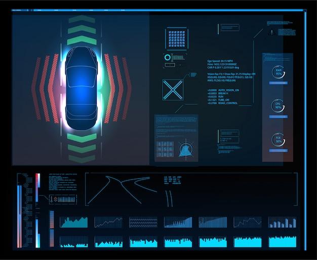 未来的なユーザーインターフェイス。抽象的な仮想グラフィックタッチユーザーインターフェイス。