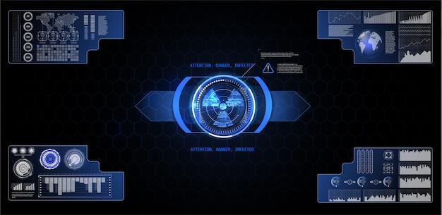 サイバーとテクノロジーのための未来的なユーザーインターフェイス要素のテキストボックスのスケールとバー
