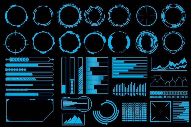 Futuristic user interface elements vector set.