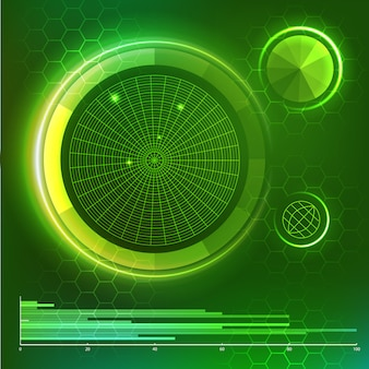 Futuristic user interface. green hud elements set. vector