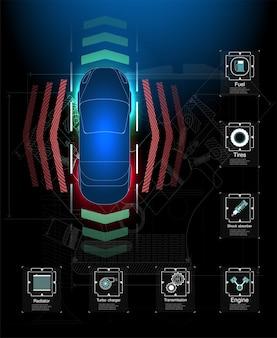 Футуристический пользовательский интерфейс. hud абстрактный виртуальный графический интерфейс пользователя касания. инфографика автомобилей. абстрактная наука.