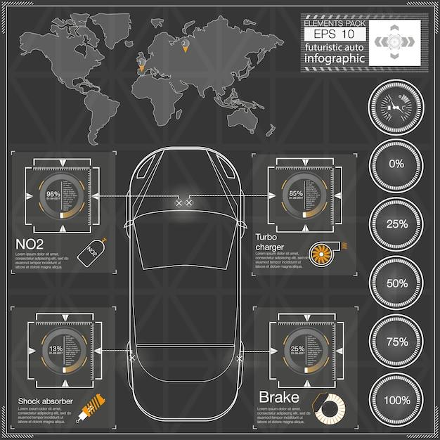 未来的なユーザーインターフェイス。 hud ui。抽象的なタッチユーザーインターフェイス。車のインフォグラフィック。サイエンスアブストラクト。図。