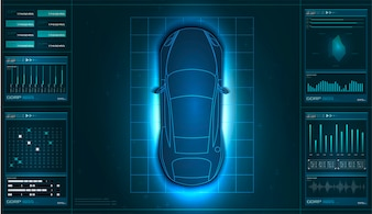 Futuristic user interface. HUD UI. Abstract virtual graphic touch user interface. car