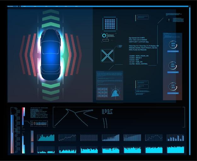 未来的なユーザーインターフェース。 hudui。抽象的な仮想グラフィックタッチユーザーインターフェイス。車のインフォグラフィック。車の自動車サービス、現代のhud、