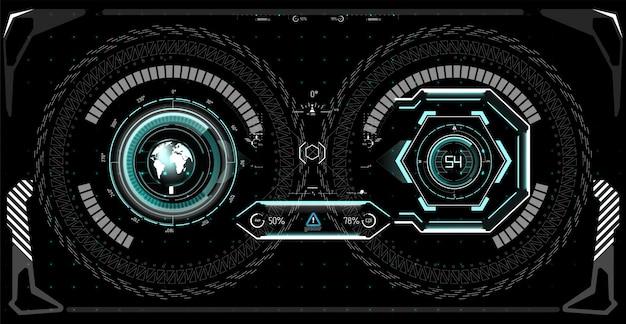 미래의 사용자 인터페이스. hud ui. 추상 가상 그래픽 터치 사용자 인터페이스. 자동차 인포 그래픽. 과학 개요. 삽화.