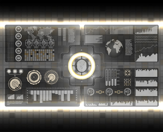 Футуристический пользовательский интерфейс. hud ui. абстрактный виртуальный графический сенсорный пользовательский интерфейс. автомобили инфографики. наука аннотация. иллюстрации.