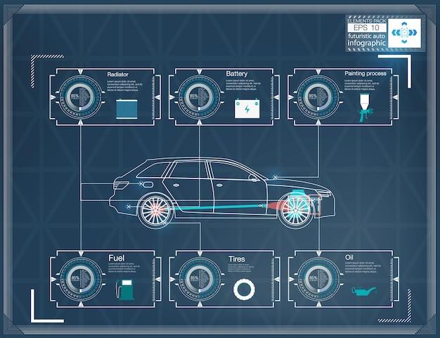 Футуристический пользовательский интерфейс. hud ui. абстрактный виртуальный графический интерфейс пользователя касания. инфографика автомобилей. абстрактная наука. иллюстрация.