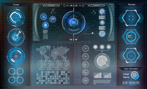 Futuristic user interface. hud ui. abstract virtual graphic touch user interface. cars infographic.  science abstract.   .