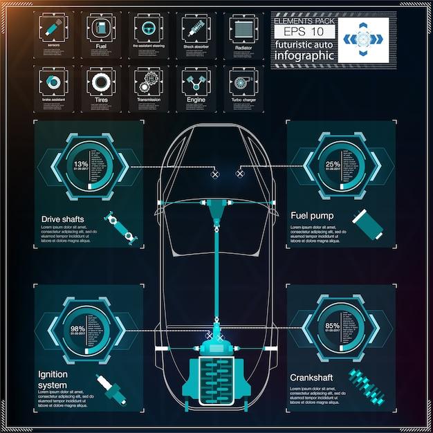 Футуристический пользовательский интерфейс. hud ui. абстрактный виртуальный графический интерфейс пользователя касания. инфографика автомобилей. абстрактная наука. .