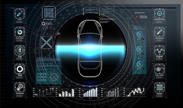 Футуристический пользовательский интерфейс. hud ui. абстрактный виртуальный графический интерфейс пользователя касания. инфографика автомобилей.